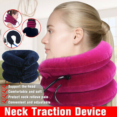 Air Inflatable Neck Support Cervical Head Rest Cushion Home Plane Travel Pillow