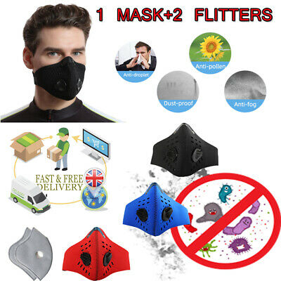 UK STOCK-Protective Cycling Reusable Face Mouth Nose Mask Anti-Pollution PM2.5
