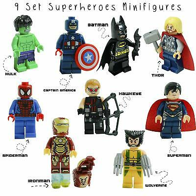 9 Pcs Marvel Avenger Super Heroes Fit Lego Mini Figure Thor Hulk Batman Superman