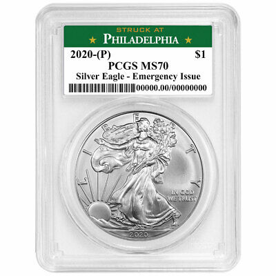 2020 (P) $1 American Silver Eagle PCGS MS70 Emergency Production Philadelphia La