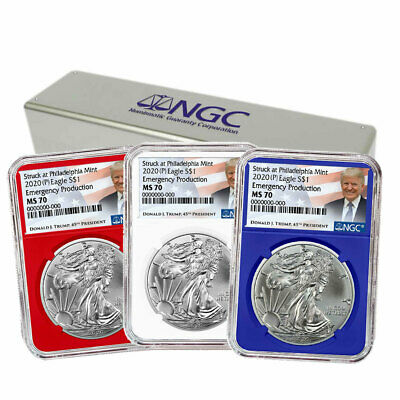 2020 (P) $1 American Silver Eagle 3 pc.Set NGC MS70 Emergency Production Trump L