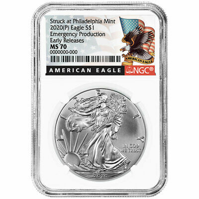 2020 (P) $1 American Silver Eagle NGC MS70 Emergency Production Black ER Label