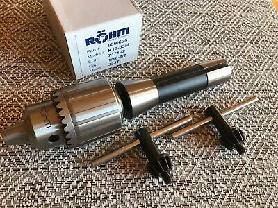 "Rohm Drill Chuck, Made in Germany, 1/16""-1/2"" Capacity, R8 X JT33 Arbor, 2 Keys"