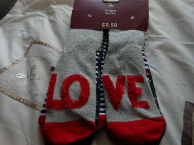TU Sainsburys 5 Pr.  GIRLS NOVELTY SOCKS LOVE HEART STRIPES WRITING 6-8.5 9-12