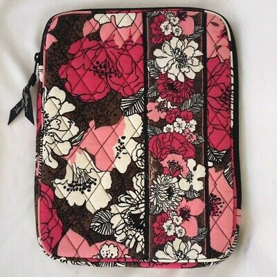 """Vera Bradley Tablet Sleeve Mocha Rouge Quilted 8"""" X 10"""" retired fall 2011 print"""