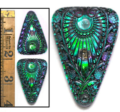 XL 45mm Vintage Czech Glass Egyptian Revival GREEN FLASH AB Triangle Buttons 2pc