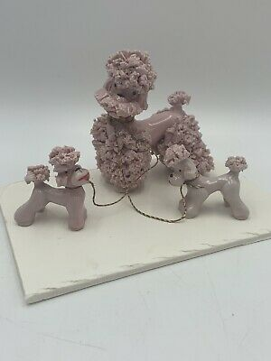 Vintage Pink Spaghetti Poodle Dog Mom and Pups Figurine Made in Japan #2