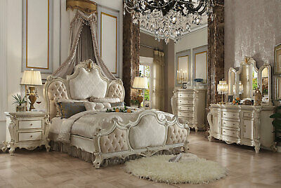 Old World Antique Pearl White 5 pieces Bedroom Set w/ King Upholstered Bed IAAL