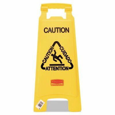 """Rubbemaid 6112 """"Caution"""" Multilingual 2-Sided Floor Sign, Yellow (RCP 6112 YEL)"""