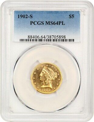 1902-S $5 PCGS MS64 PL - Finest Graded by PCGS - Liberty Half Eagle - Gold Coin