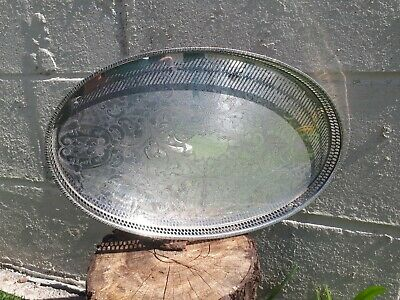 Vintage Antique Silver Plate Gallery Tray Pierced Chased Round Serving EPNS
