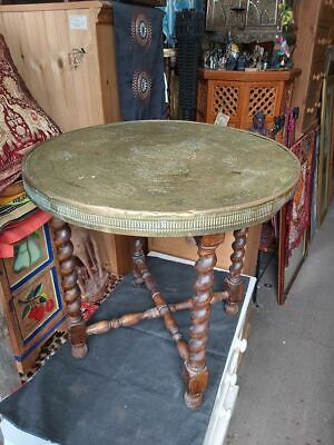 Vintage North African Brass Top Table With Folding Legs