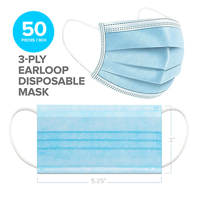 InterMask 3-Ply Disposable Protective Face Mask, Box of 50