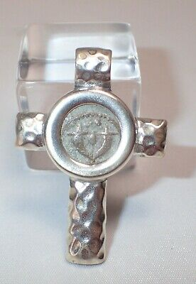 Estate Ancient Bronze Pruta Jerusalem Coin in Sterling Silver Cross Pendant