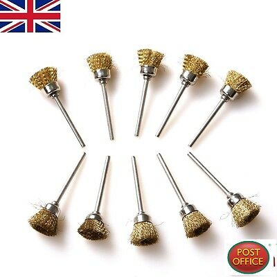 10x 16mm Brass Wire Wheel Brushes Fit For Rotary Tool Dremel Accessories