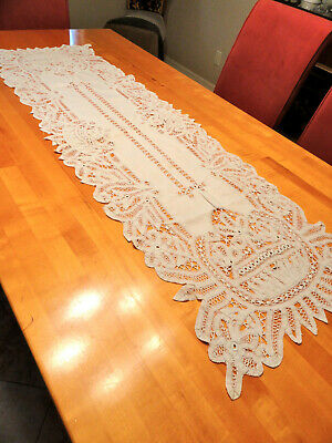 Antique Lace Table Runner  55 in. Long x 17 in. wide White