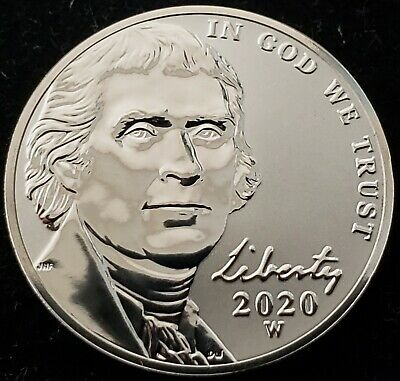 2020-W Reverse Proof Jefferson Nickel from West Point Mint in Original Packaging
