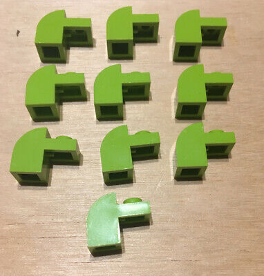 10 Pieces LEGO 33243 NEW Lime Green 1x3x2 Modified Curved Top 1 Stud Brick