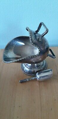 Vintage Silver Plated Sugar Scuttle With Scoop  Collectable Metal