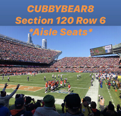 (2) Chicago Bears Tickets vs Packers 1/3/21 Section 120, Row 6 *Aisle Seats*