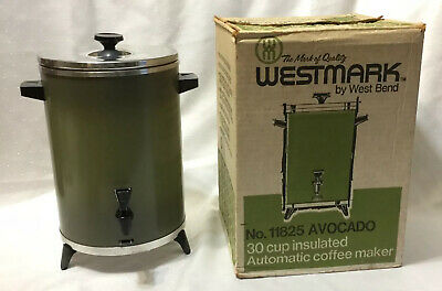 Vintage WEST MARK By West Bend 30 Cup Insulated Automatic Coffee Maker AVOCADO