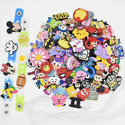 US Stock 100PCS Shoe Charms Ornament Fit Whristband/Shoe Lace Adapter Child Gift