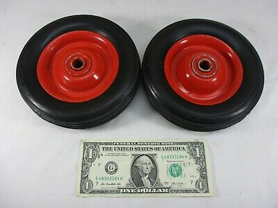 "Vtg Rubber Pedal Car, Wagon, Cart, Dolly Wheels Metal Rims 6"" x 1.5""  Axle 1/2"""