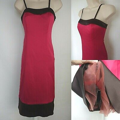 Teatro Strappy Occasion Dress Pink & Brown Satin Size 8 Net Races Prom Wedding