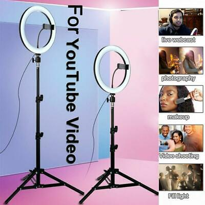 "10"" LED Ring Light Light Stand Kit Dimmable Photo Studio Selfie Phone Live Lamps"