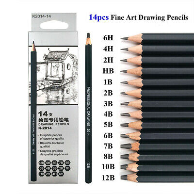 14pcs Professional Sketch Pencil Set Drawing Pencils For Artists Students Hot!