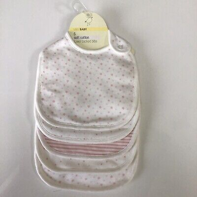M & S Baby 5 Pack Soft Cotton Towel Backed Bibs New Set Pink Mix Next Day Send