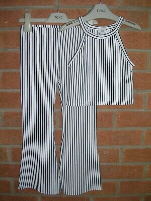 RIVER ISLAND Girls Black Cream Stripe Stretchy Set Trousers Crop Top Age 5-6 116