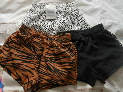 BNWTS Girls 3 Pack Cotton Shorts Ideal For Summer Black/White Brown/Black 3 Yrs