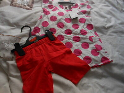Tu Girls Tunic Top and Leggings Set Red/White Summer Outfit Fits 3-4 4-5 Years