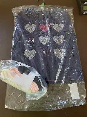 Mothercare Girls 7-8 Years Navy Long Sleev Top & 3 Cable Pairs Of Tights New