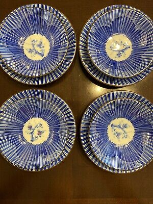 "8 pc Lot - Asian Japanese Blue Flower Ceramic Dishes 6"" Plates And 5"" Bowls NICE"