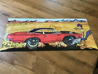 vtg Plymouth ROAD RUNNER 3 Page Foldout POSTER Car of Year 1969 ORIGINAL 11 x 23
