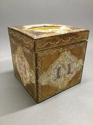 Vtg Florentia Gilt Blush Pink Florentine Italian Hollywood Regency Tissue Box
