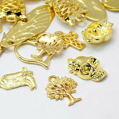 10 Christmas Charms Antiqued Gold Bronze Assorted Lot Mixed Set Themed Pendants