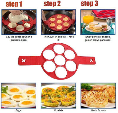 Pancake or egg mould, silicone with 7 holes is Easy to use with handlesUK SELLER