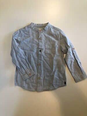 Zara Boys Light Blue Dress Shirt Mandarin Collar Roll Tab LS Shirt Size 3/4T