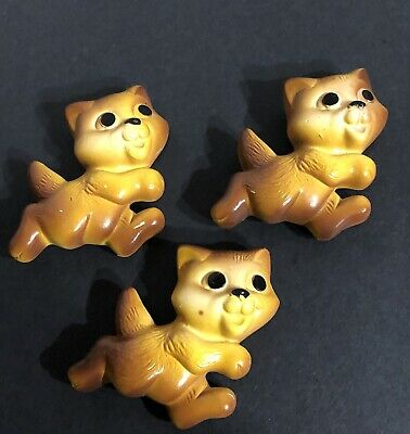 """Vintage Set of 3 Bear Cubs Painted Chalk Ware Wall Hangers 2.5"""" Long Each"""