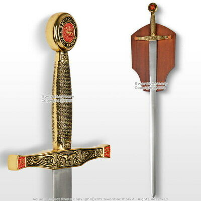 "40.5"" Gold King Excalibur Medieval Crusader Knight Sword w/ Wooden Display Plaq"