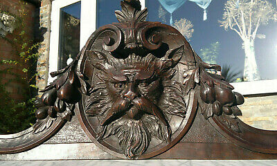 Antique Baroque Cat ~Early 19thC Hand Carved Wood Pediment ~ 97cm by 30cm tall