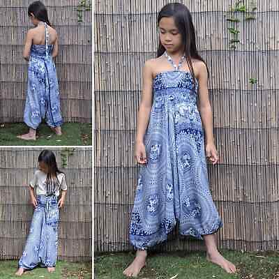 Children's kid's elephant harem pants jumpsuit boho hippy trousers 7-10 yrs