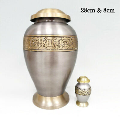 Silver & Gold Banded Metal Urn for Human Pet Ashes, Cremation Keepsake Ash Crem