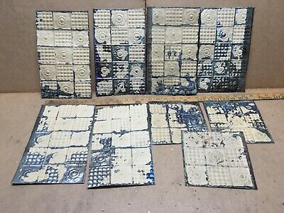 """9 pc Lot 6"""" x 10"""" Antique Ceiling Tin Metal Reclaimed Salvage Art Craft"""
