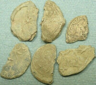 Lot Of 6 Byzantine Lead Imperial Seal Fragments, Bust / Text