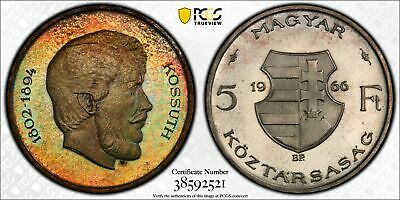 PR67 1966-BP Hungary 5 Forint, PCGS Secure- Rainbow Toned Silver Proof