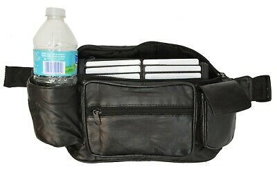 Black Leather Waist Pouch Travel Bum Bag with Bottle Holder and 6 Card Slots